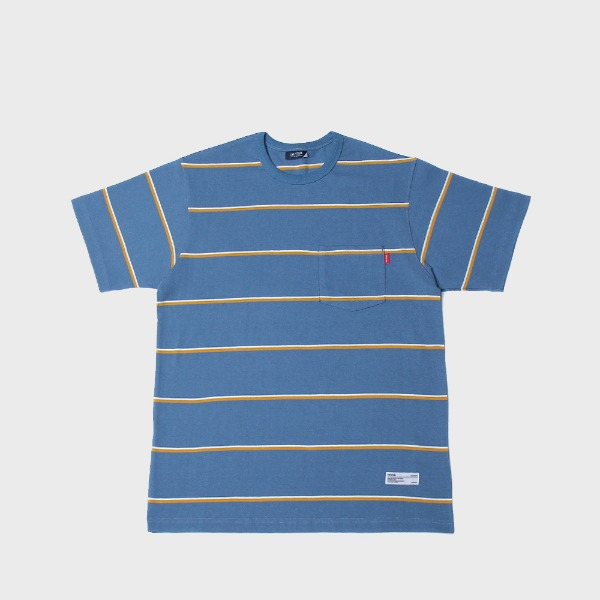 더스토리10s stripe pocket tee (skyblue/yellow)