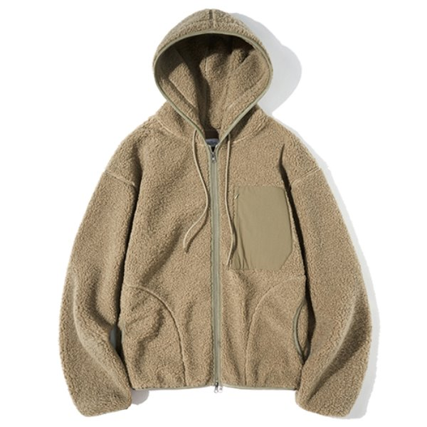 파르티멘토 Boa Fleece Hood Zip-Up Jacket Mosstone