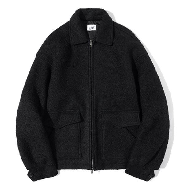 파르티멘토 Wool Terry 4PK Zip-Up Jacket Black
